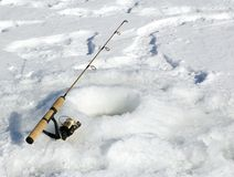 Line's Set. Fishing reel set up at hole in ice royalty free stock images