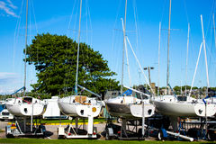 Line of Sailboats dry docked. Stock Images