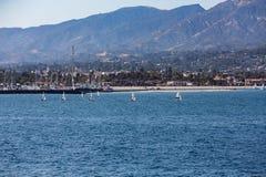 Line of Sailboats in Santa Barbara Stock Images