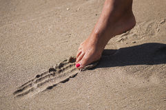 Line in the sand Royalty Free Stock Image