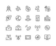 Line Satellite Icons Royalty Free Stock Photography