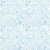Line School Education Graduation Seamless White Pattern. School Education Graduation Seamless White Pattern. Vector Science Design and Seamless Background in Royalty Free Stock Photography