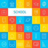 Line School Icons Set Stock Photo