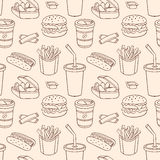 Line seamless pattern with fast food Royalty Free Stock Images