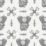 Line seamless pattern vector motorcycle classic bike v power motor, wrench. Legendary retro. Cartoon. Biker motoclub Stock Photos