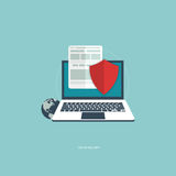 On line security. Data protection and on line security concept. Flat  illustration Royalty Free Stock Images