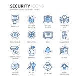 Line Security Icons. Simple Set of Security Related Color Vector Line Icons. Contains such Icons as Surveillance Camera, Fingerprint, ID pass and more. Editable Stock Photography