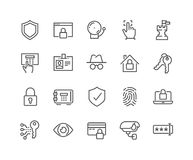Line Security Icons. Simple Set of Security Related Vector Line Icons. Contains such Icons as Finger Print, Electronic key, Spy, Password, Alarm and more Stock Photos