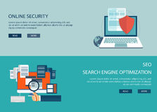 On line security and search engine optimization. Flat computing backgrounds Royalty Free Stock Photos