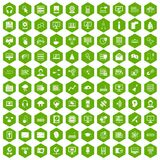 100 on-line seminar icons hexagon green. 100 on-line seminar icons set in green hexagon isolated vector illustration Royalty Free Stock Image