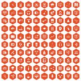 100 on-line seminar icons hexagon orange. 100 on-line seminar icons set in orange hexagon isolated vector illustration Stock Photos