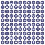 100 on-line seminar icons hexagon purple Stock Photo