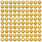 100 on-line seminar icons set gold. 100 on-line seminar icons set in gold circle isolated on white vectr illustration Vector Illustration