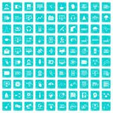 100 on-line seminar icons set grunge blue Royalty Free Stock Image