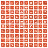 100 on-line seminar icons set grunge orange. 100 on-line seminar icons set in grunge style orange color isolated on white background vector illustration Royalty Free Stock Photos