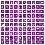 100 on-line seminar icons set grunge purple. 100 on-line seminar icons set in grunge style purple color isolated on white background vector illustration royalty free illustration