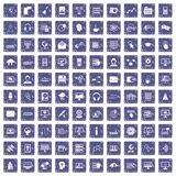 100 on-line seminar icons set grunge sapphire. 100 on-line seminar icons set in grunge style sapphire color isolated on white background vector illustration Stock Images