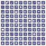 100 on-line seminar icons set grunge sapphire. 100 on-line seminar icons set in grunge style sapphire color isolated on white background vector illustration royalty free illustration
