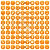 100 on-line seminar icons set orange. 100 on-line seminar icons set in orange circle isolated vector illustration stock illustration