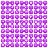 100 on-line seminar icons set purple. 100 on-line seminar icons set in purple circle isolated vector illustration vector illustration