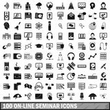 100 on-line seminar icons set, simple style Stock Photography