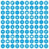 100 on-line-Seminarikonen blau eingestellt lizenzfreie abbildung