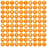 100 on-line-Seminarikonen orange eingestellt stock abbildung