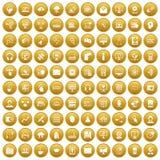 100 on-line-Seminarikonen stellten Gold ein vektor abbildung