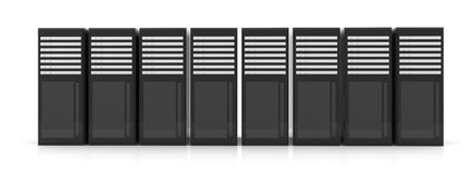 Line of Server Racks. 3D Illustration. Isolated on white vector illustration