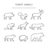 Line set of forest animals. Linear silhouettes animals isolated. On white. Vector icons boar, squirrels, deer, beaver, fox, puma, wolf, hedgehog and bear Stock Images