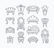 Line set of graphical retro furniture items Royalty Free Stock Photos