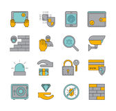 Line set of icons security. Vector linear symbols. Line set of icons security. Vector linear camera, firewall, lock, protection, shield and fingerprint Royalty Free Stock Photos