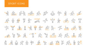 Line set of sports icons. Vector linear symbol of sportsmen Stock Photos