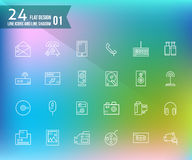 24 line and shadow icons. Stock Photos