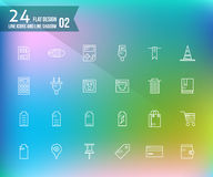 24 line and shadow icons. Flat design icon set2. vector Royalty Free Stock Images