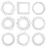 Line shape art frame set 03. Line shape art frame set, brush vector stock illustration