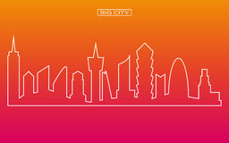 Line shape panorama big city vector with twilight sky background Stock Photos