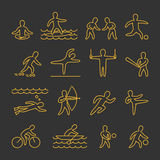 Line  shapes athletes. Icon and symbols for popular sports Stock Photo