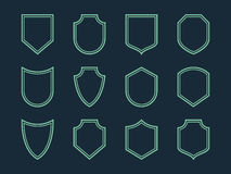 Line shield icon set Stock Photo