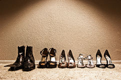 Line of Shoes stock images