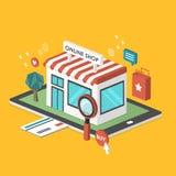 On-line-Shop 3d isometrisches infographic Lizenzfreie Abbildung