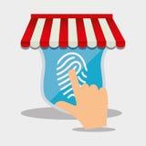 on-line-Shopfinger-Touch Screen Internet-Sicherheit stock abbildung