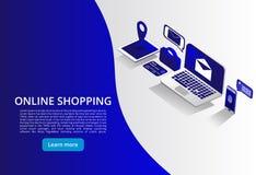 On-line--Shoping, bewegliche Zahlungen, isometrisches Konzept des Übergangsgeldes Shoping on-line-Konzept Auch im corel abgehoben vektor abbildung