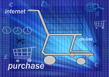On line shopping. To promote an easy buying on line 7/7 days , 24/24 hours Stock Image
