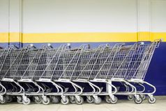 Line of Shopping Carts Stock Photography