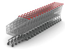 Line of Shopping Carts. Digital render of 16 shopping carts in line Stock Photo