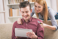 On-line shopping with credit card Stock Photography