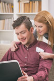 On-line shopping with credit card Stock Image