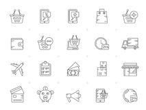 Line shopping and e-commerce Icons. Vector icon set stock illustration