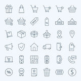 Line Shopping and E-commerce Icons Set Stock Photo